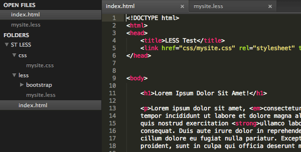 Sublime Text LESS Overview