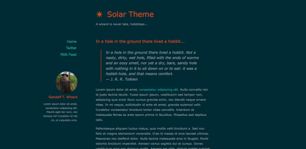 Solar Theme for Ghost