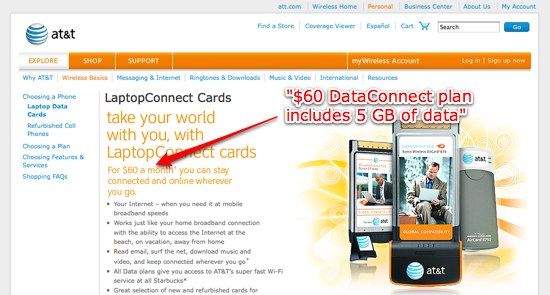 AT&T's expensive cellular data plan for laptops