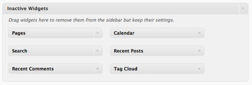 Inactive Widgets Secion in WordPress 2.8