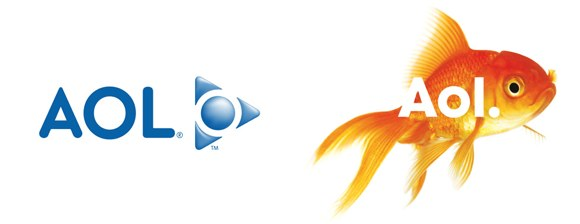 AOL logo: before and after