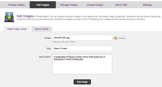 Uploading Images in PowerGallery