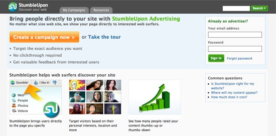 StumbleUpon Ads
