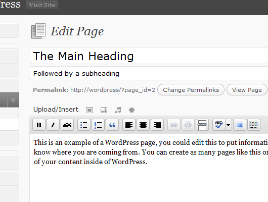 Subheadings in WordPress