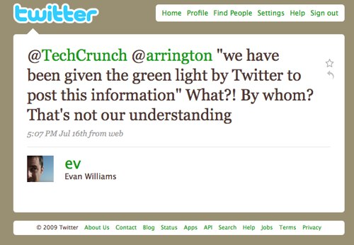 Evan Williams' tweet to TechCrunch