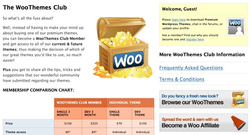 "WooThemes ""Club"" Page (Two differently sized columns)"