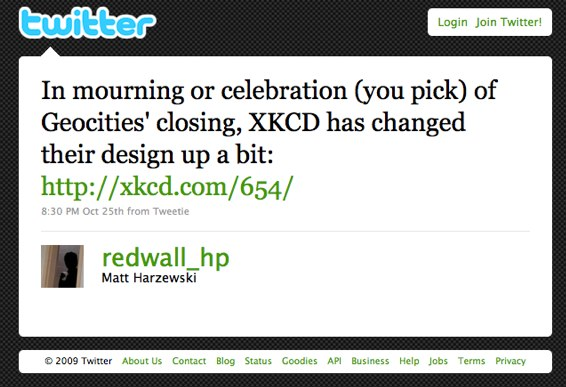 In mourning or celebration (you pick) of Geocities' closing, XKCD has changed their design up a bit